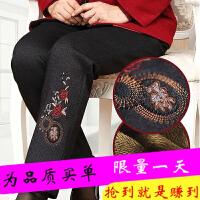 中老年女裤秋冬新款妈妈裤子加绒加厚外穿高腰老人棉裤女宽松