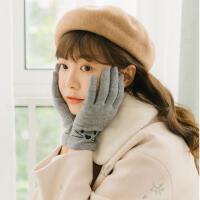 韩版冬天女学生保暖小清新触屏羊毛手套春秋季可爱日系卡通萌猫薄