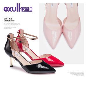 依思q春秋新款细跟尖头单鞋高跟时尚一字扣带鞋子女