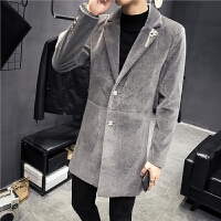 秋冬中长款呢大衣男士韩版修身潮流风衣发型师帅气呢料外套男