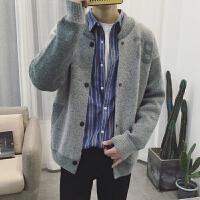@文艺男女店秋季毛衣男士针织衫开衫外套羊毛衫长袖韩版潮流个性 灰色 XL