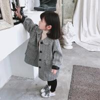 女童毛呢外套2018秋冬新款洋气休闲儿童呢子大衣女宝宝上衣潮gd 灰色