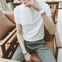 夏装短袖男士白色小立领POLO衫文艺男修身型青少年男装气质保罗