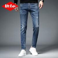 Lee Cooper英伦韩版男式牛仔裤修身弹力小脚裤简约个性百搭破洞牛仔裤