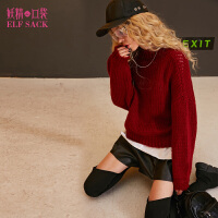 妖精的口袋冬装新款宽松纯色内搭落肩圆领毛衣女短款