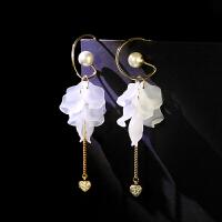 925银针气质耳环女 版时尚长款春夏个性白莲花吊坠耳饰