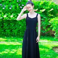 夏季新品女装气质无袖黑色连衣裙长裙波西米亚海边度假沙滩裙 黑色XZB671