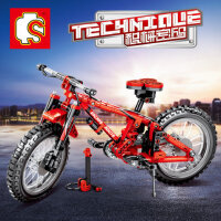 儿童�犯呋�木拼装玩具益智力动脑组装自行车山地车模型拼插小颗粒
