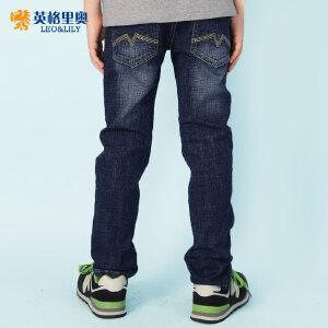 2018男童松紧腰牛仔裤秋装新款中大童黑色休闲长裤童装大码牛仔裤