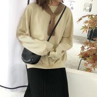 无帽卫衣女秋冬装2018新款韩版加绒加厚纯色宽松圆领套头长袖上衣