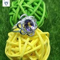 紫水晶戒指女925纯银粉晶指环镶嵌天然彩色宝石韩国开口饰品首饰 紫色