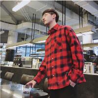 春季款潮男时尚休闲大格子衬衫韩版青春学院风红黑格长袖衬衣港风