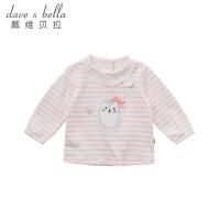 戴维贝拉童装春季新款女童T恤 宝宝卡通印花上衣DBJ9906