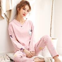 睡衣女春秋纯棉长袖秋冬季全棉家居服韩版少女士可爱套装 粉红色 U2220