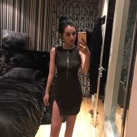 2018韩版时尚气质名媛低调的奢华闪金暗黑开叉修身性感个性连衣裙