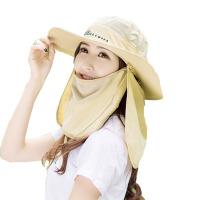 帽子女夏季防晒遮阳帽防紫外线太阳帽男户外垂钓渔夫帽登山大沿帽