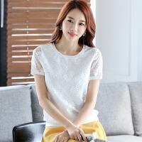 夏季新款韩版女士显瘦花朵短袖蕾丝打底衫镂空上衣圆领大码雪纺衫