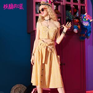 【低至1折起】妖精的口袋2018新款复古格子纯棉原宿风chic港味套装裙女