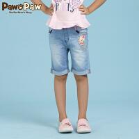 【3件2折 到手价:92】Pawinpaw宝英宝卡通小熊童装夏季款女童水洗牛仔裤