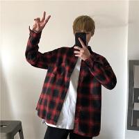 韩版春季男款大红黑格子衬衣修身格纹长袖衬衫男装潮港风衬衣