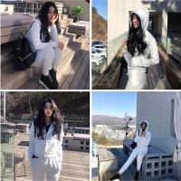 2018新款冬装运动冬休闲卫衣韩版运动服初春款时尚套装女 白色 套装加绒