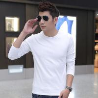 秋冬季纯色打底衫男士长袖t恤纯白色圆领男装加厚保暖衣服修身潮