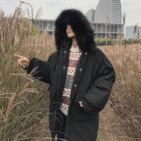 冬季新款韩版宽松棉衣男中长款外套加厚棉服学生面包服棉袄潮