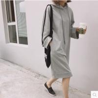 带帽子的卫衣外套韩版学院潮连帽宽松套头薄款中长款春季连衣裙女