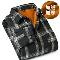秋冬季宽松格子衬衫男士长袖韩版休闲学生加绒加厚白衬衣服潮流寸