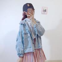 2018春秋女装韩版学生宽松牛仔连帽卫衣长袖外套短款休闲两件套潮