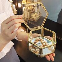 金色皇冠玻璃化妆品收纳盒复古宫廷风六边形礼品首饰盒珠宝盒