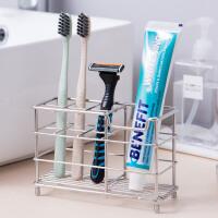 欧润哲 不锈钢格子牙膏牙刷架 浴室洗漱用品多功能收纳架
