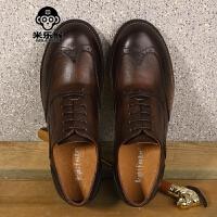 米乐猴 潮牌新品英伦布洛克雕花皮鞋复古做旧软底休闲鞋圆头轻便厚底男鞋男鞋