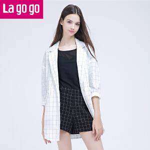 Lagogo拉谷谷2016秋新款纯棉格子衬衫女休闲西服外套中长款BF风