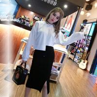 春季新款韩版时尚纯色长袖不规则短卫衣+高腰针织包臀半身裙套装
