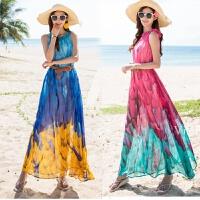 沙滩裙夏长裙渐变印花雪纺大码显瘦连衣裙波西米亚海边度假裙