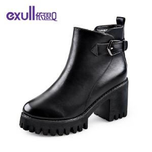 依思q冬季新款防水台粗跟高跟短靴皮带扣潮流女靴子