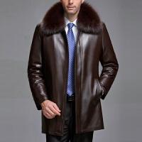 装真皮皮衣男士中老年男装皮草中长款绵羊皮加厚外套爸爸装