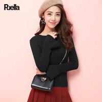 拉夏贝尔puella普埃拉新款韩版休闲直筒纯色针织衫女20008911