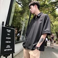 港风短袖五分袖纯色Polo衬衫男