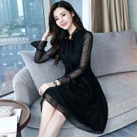 蕾丝连衣裙春装2018新款女长袖时尚韩版气质减龄内搭长袖打底裙