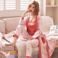 三件套睡衣女春秋纯棉长袖外穿吊带睡裙长款睡袍女性感休闲家居服