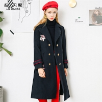毛呢大衣女秋冬季2018新款韩版学生中长款过膝羊毛妮子外套加厚