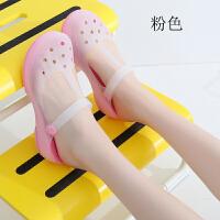 洞洞鞋女夏季沙滩鞋果冻渐变色孕妇防滑平跟包头凉鞋拖鞋