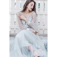 2018夏季新款文艺复古灰蓝色网纱气质连衣裙灯笼袖波西米亚度假沙滩长裙仙女裙 灰蓝色