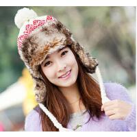 女士冬天韩版潮时尚保暖冬天帽子护耳帽 仿兔毛雷锋帽 毛线帽