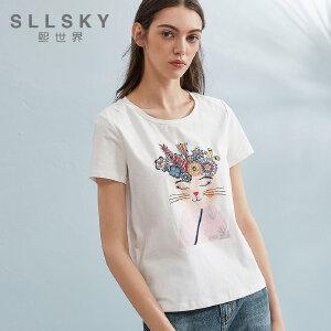 熙世界2018夏季新款白色刺绣短袖t恤女夏圆领修身上衣112ST126