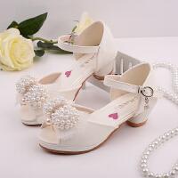 新款女童高跟凉鞋夏季童鞋儿童凉鞋公主鞋白色舞蹈鞋