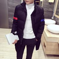 冬装 新款个性袖子修身男士立领棉衣中长款保暖棉袄外套男装