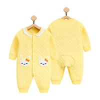 春秋婴儿连体衣保暖哈衣1岁女宝宝冬装6个月新生儿衣服0纯棉3睡衣